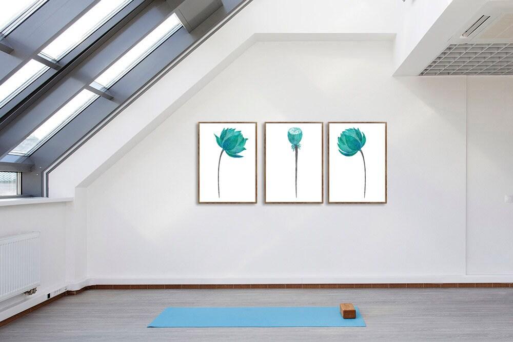 Lotus Watercolor Art Set Of 3 Prints Teal Wall Art Yoga Room Decor Living Room Wall Art Floral Illustration Bedroom Art