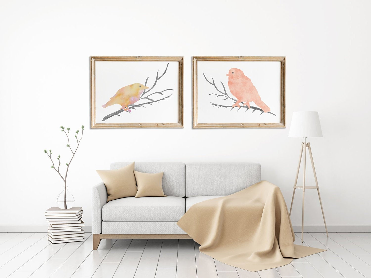 Two Art Prints Bird Painting Nursery Room Decoration Blush Pink Wall Art Baby Girl Nursery Wall Decor Set Pale Pink Girls Room