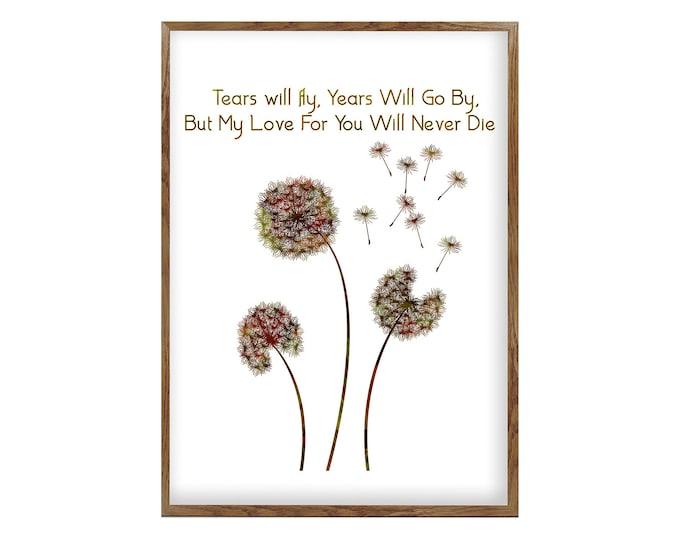 Dandelion Wall Art Canvas, Flower Wall Art, Quote Of Love, Living Room Art Dandelion, Gifts Idea, Dandelion Print