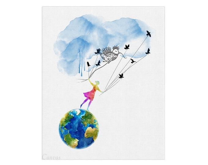 Flying Girl, Birds Wall Art, Dream Inspire, Art Print Poster, Inspirational Print, Dream Art Print, Flying Sky Print