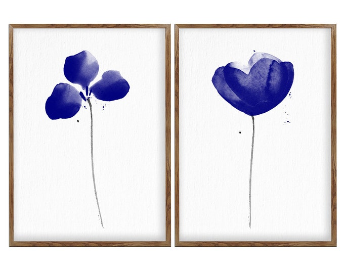 Set of 2 Prints, Abstract Blue Flowers, Poppies Painting, Poppy Wall Art, Home Gallery, Floral Decor, Simple Blue Flower