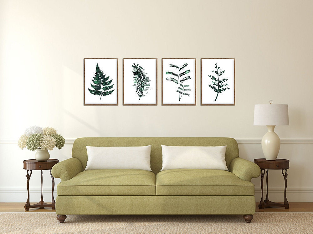 Botanical Print Set of 4 Fern Wall Art Tropical Leaves Green Emerald ...