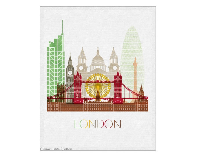 London Poster, London Skyline Print, Wall Art, City Posters, Cityscape, Travel Gift, Office Décor