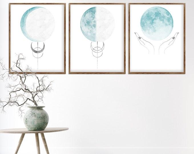 Blue Moon, Set of 3 Print, Lunar Phases Print, Celestial Wall Décor Print, Moon Phases, Moon Poster, Scandinavian Print