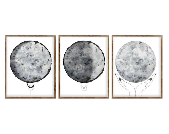 Set of 3 Print, Lunar Phases Print, Celestial Wall Décor Print, Black and White, Moon Phases, Moon Poster, Scandinavian Print