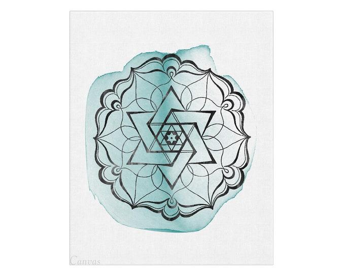Mandala Wall Art, Sacred Geometry, Zen Wall Art, Wall Art, Home Décor, Mandala Wall Décor, Turquoise Art Print, Mandala Poster