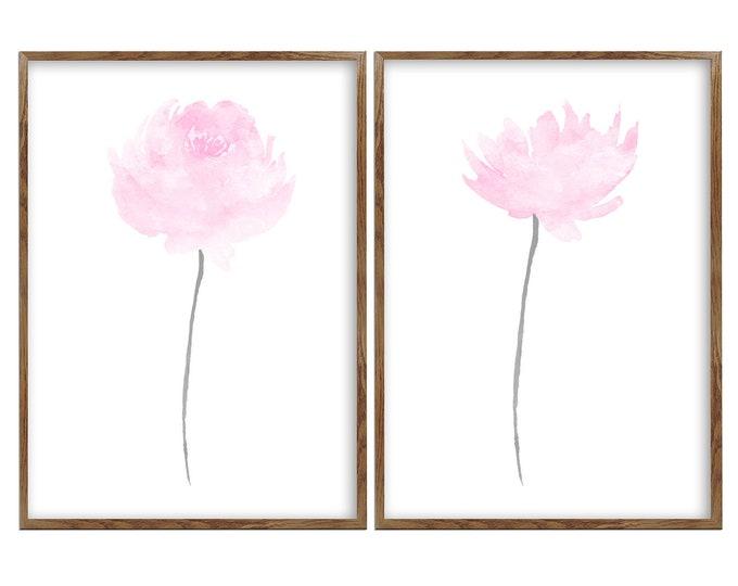 Watercolor Flowers, Floral Prints, Wildflowers Wall Decor, Pastel Floral Artwork, Nursery Art, Set 2 Prints, Blush Bedroom, 8x10 Set of 2