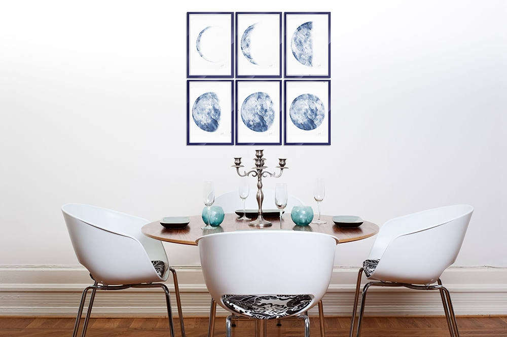 Moon Print, Moon Phases Wall Art Set of 6 Prints Watercolor Moon ...