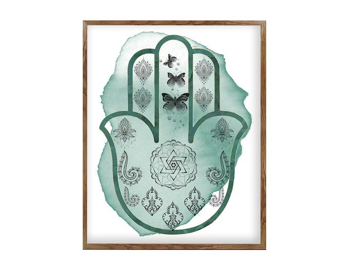 Hamsa Art Print, Hamsa Hand Print, Hamsa Home Décor, Hamsa Poster, Wall Art, Studio Art Décor, Yoga instructor Gift