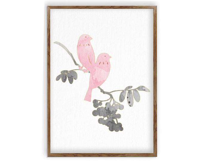 Bird Nursery Art, Nursery Décor, Girl Floral, Nursery Wall Art Birds, Nursery Décor Girl Flower, Baby Bird Nursery, Spring Theme, Baby Gift