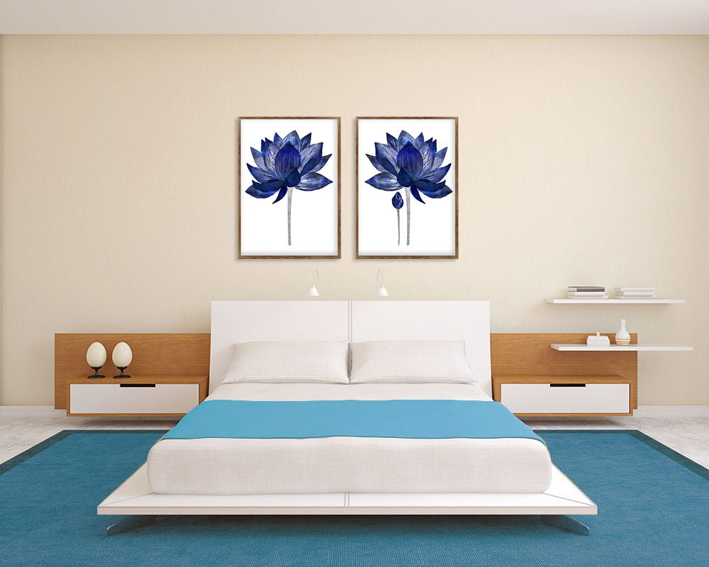Navy Blue Flower, 2 pieces Set Art prints, Lotus Painting Abstract ...