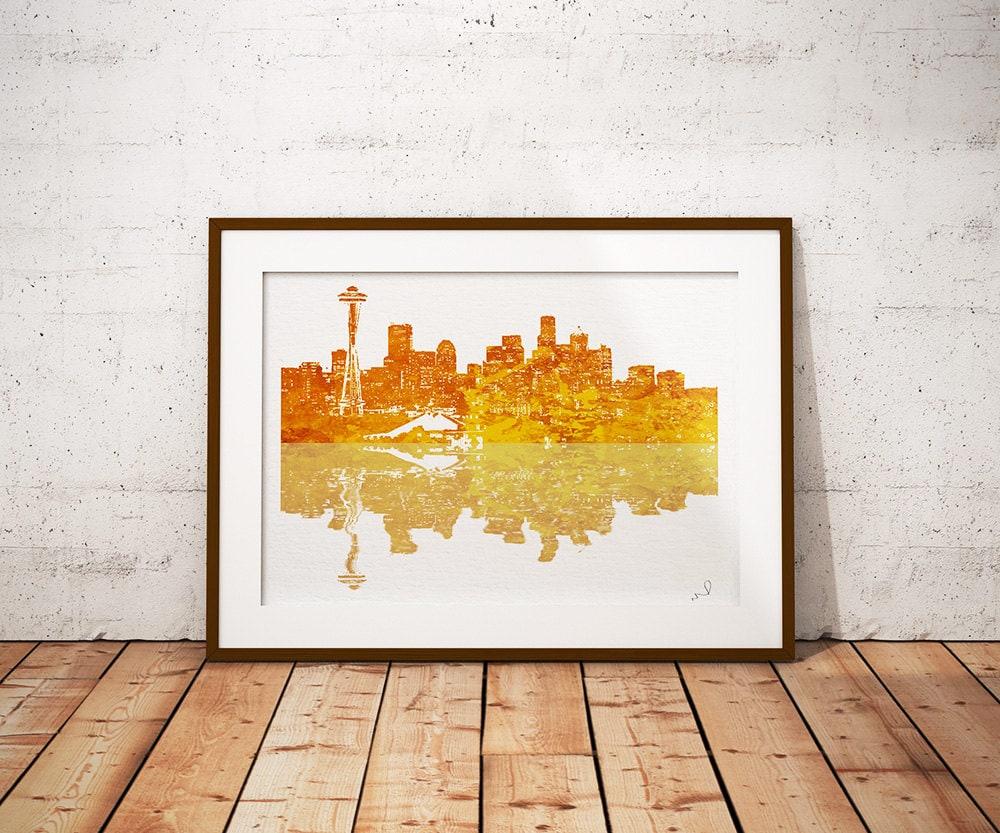 Seattle Skyline Art Print golden print Illustration Art Print ...