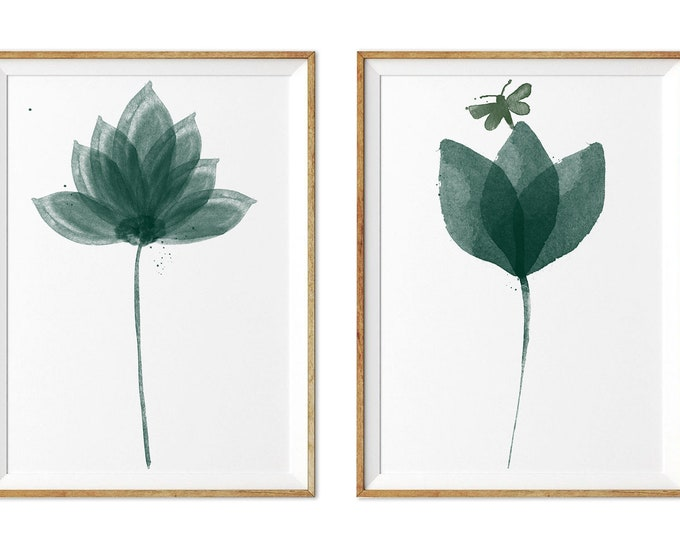 Lotus Painting, Emerald Flowers Set, Watercolor Flowers, Abstract Flower Set, Living Room, Wall Art, Minimalist Art