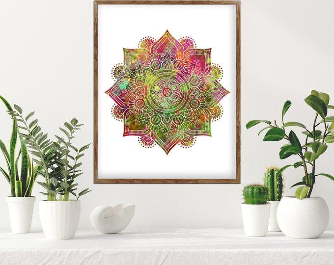 Mandala Wall Art, Colorful Bohemian Wall Décor, Flower Mandala, Bedroom Decoration, Living Room Décor, Yoga Room Art