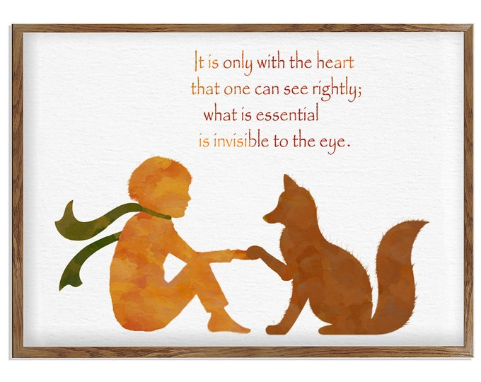 Little Prince Quote, Art for Kids, Kids Book Quotes,  Little Prince Art, Gift for Girlfriend, New Baby Gift, Personalized Poster, Artwork