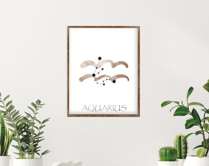 Aquarius Personalized, Watercolor Art, Zodiac Sign Print, Art Print, Birth Month, Astrology Print, Zodiac Art, Horoscope Celestial Art