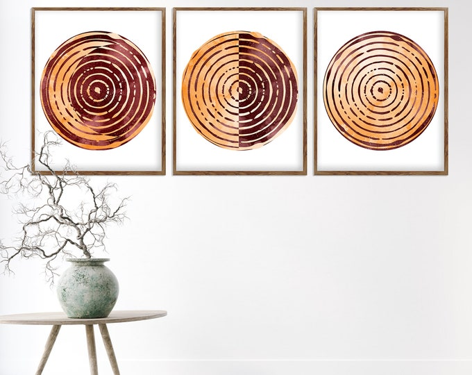 Moon Phase Print, Wall Art, Above Bed Art, Boho Wall Art, Set of 3 Lunar Phases Print, Red Home Decor, Bedroom Wall Art