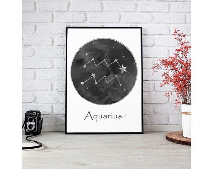 Aquarius Personalized, Black White Wall Art, Zodiac Sign Print, Art Print, Birth Month, Astrology Print, Zodiac Art, Celestial Art