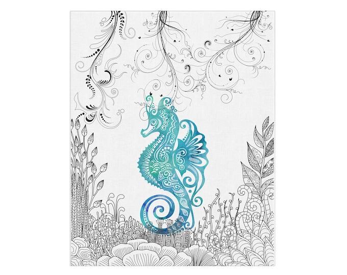 Sea Horse, Watercolor Print, Seascape Wall Art, Turquoise Home Décor, Nautical Wall Art, Marine Art, Bathroom Décor