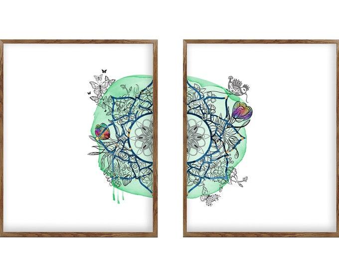 Modern Mandala Art Set, Boho Prints, Boho Wall Art Set, Living Room Wall Art, Set of 2 Prints, Gallery Wall Set, Print Set