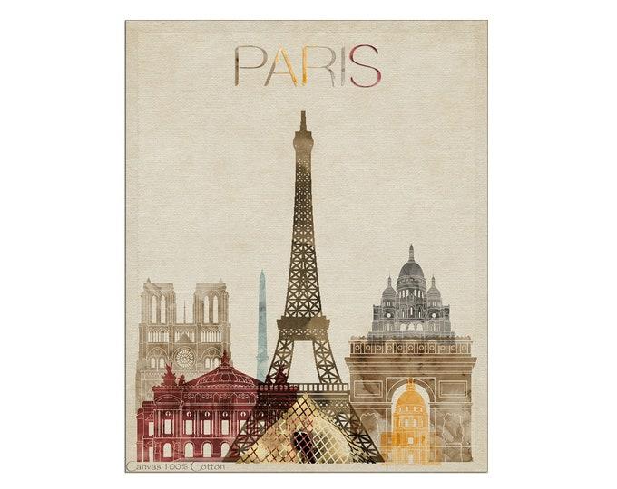 Paris Print, Canvas, Wall Art, France Cityscape, Paris Skyline, City Poster, Typography Art