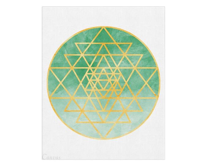 Sri Yantra Print, Sacred Geometry, Tantric Poster, Mystic Art, Boho Décor, Mandala Art, Gift for Therapist, Meditation Wall Art