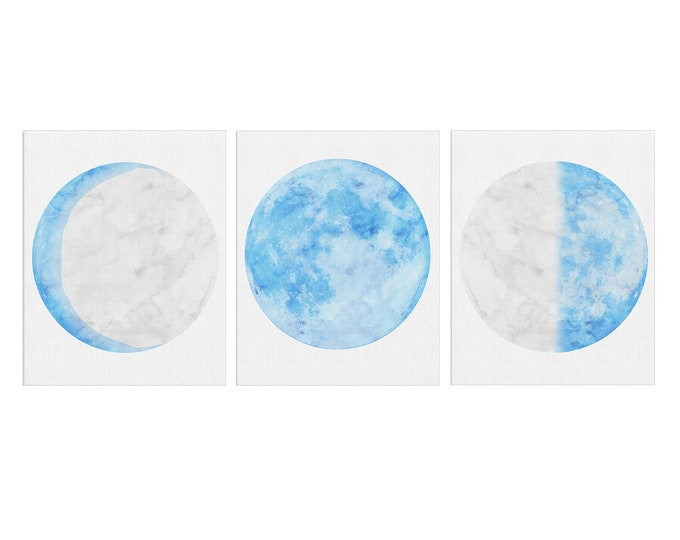 Celestial Wall Décor Print, Blue Moon, Set of 3 Print, Lunar Phases Print, Moon Phases, Moon Poster, Scandinavian Print