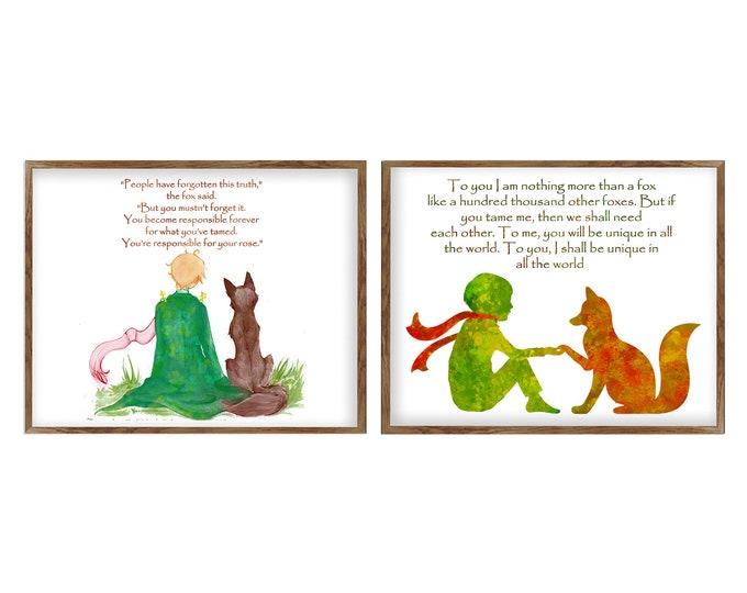 Inspirational Quotes, Little Prince Print, Children's Literature, Inspirational Quote, Poster Set, Nursery Art, Classroom Decoration