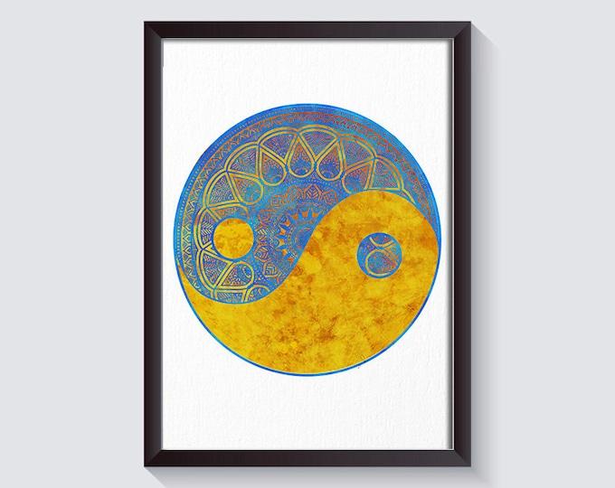 Yin Yang Art, Mandala Art Print, Sacred Geometry, Spiritual Décor, Mandala Artwork, Mandala Wall Art, Zen Poster