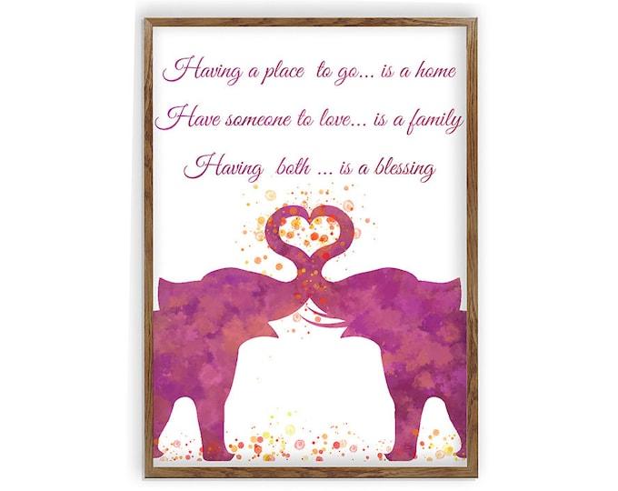 Elephant Love Quote, Elephant Wall Art, Love Art Print, Wedding Gift Idea, Anniversary Present, Love Painting