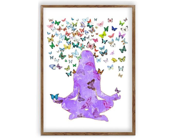 Yoga Wall Décor, Namaste, Wall Art, Meditation Art, Yoga Wall Art, Gift For Her, Yoga Poster