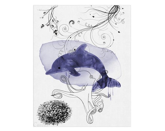Bottlenose Dolphin, Art Print, Watercolor Painting, Nautical Animal, Dolphin Illustration, Beach House Décor, Sea Life Art