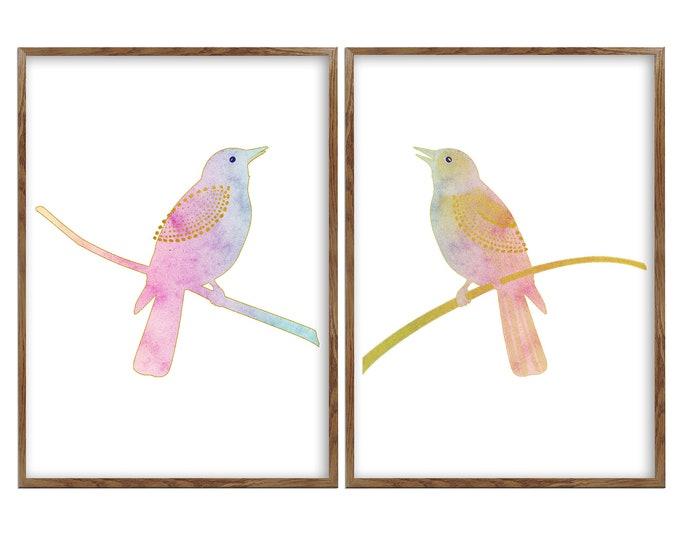 Bird On Branch Art, Bird Artwork, Set Of 2 Prints, Bird Painting, Bird Wall Art, Bird Poster