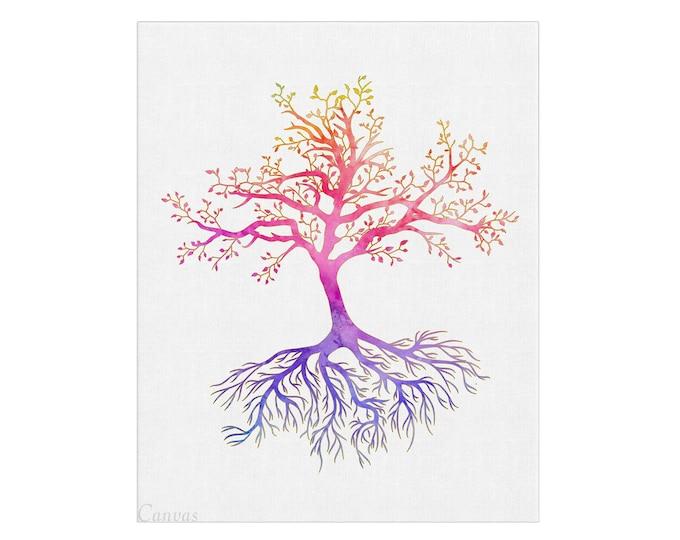 Tree of Life, Watercolor Print, Wall Art, Rainbow Art Print, Yoga Studio, Family Housewares, Housewarming Gift, Buddha Home Décor,