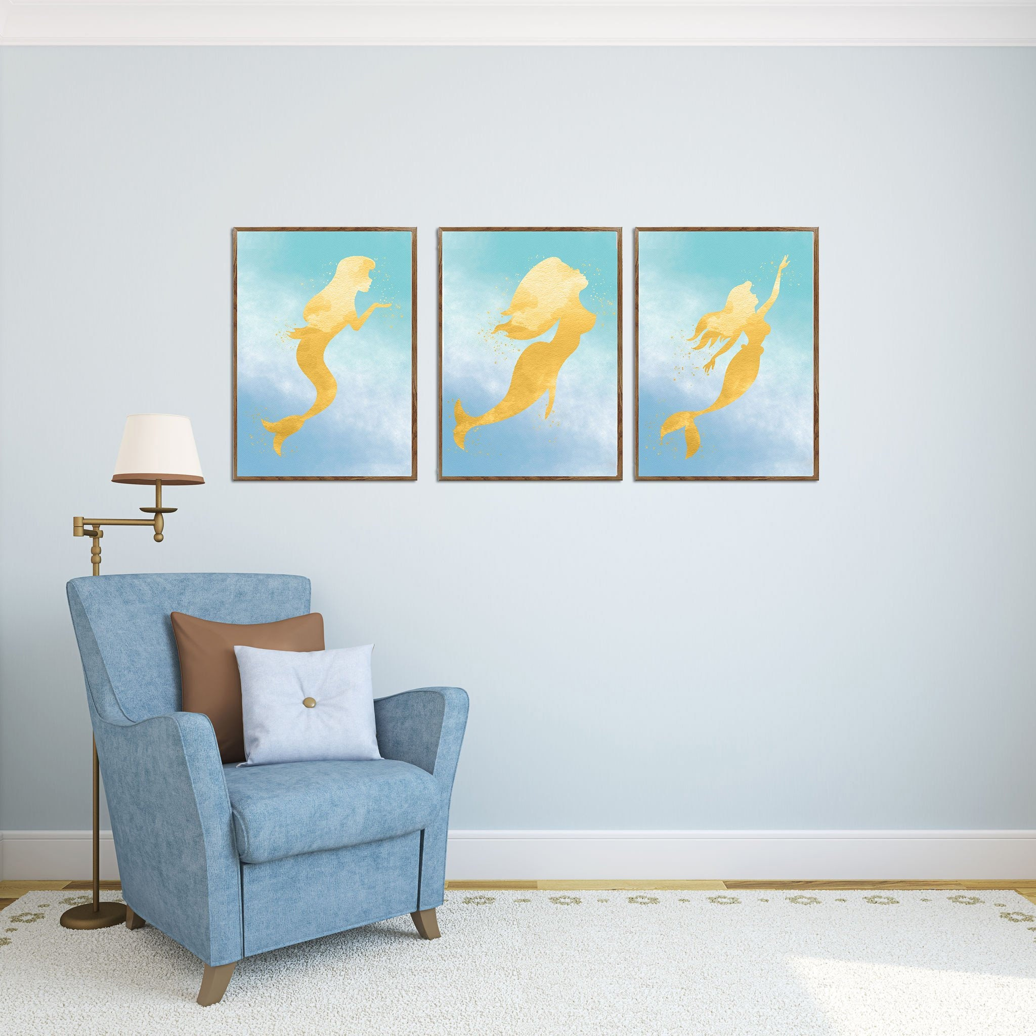 Mermaid Decor 3 Piece Art Print Girls Room Wall Art Bathroom Art Beach House Decor Watercolor Painting Large Poster Girl Gift Ideas