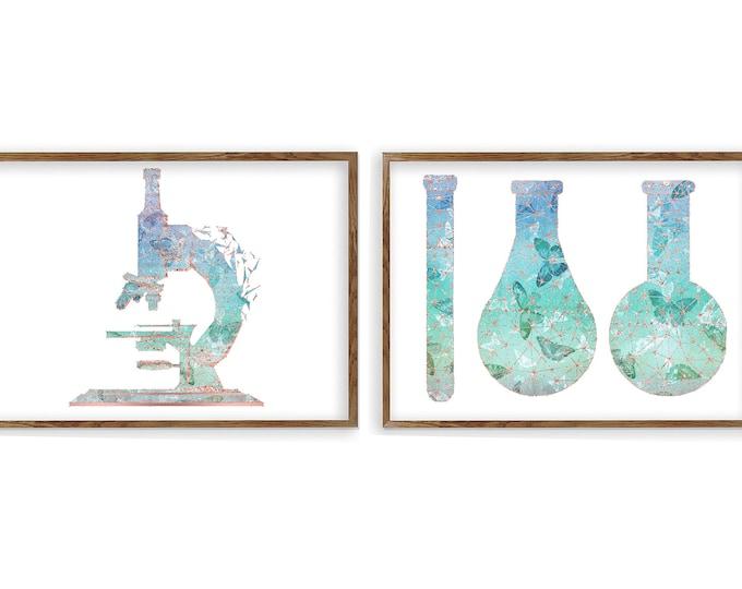 Chemistry Glassware Art Print | Microscope Art Prints | Science Art | Biology Art | Medical Decor | Medical Student Gift
