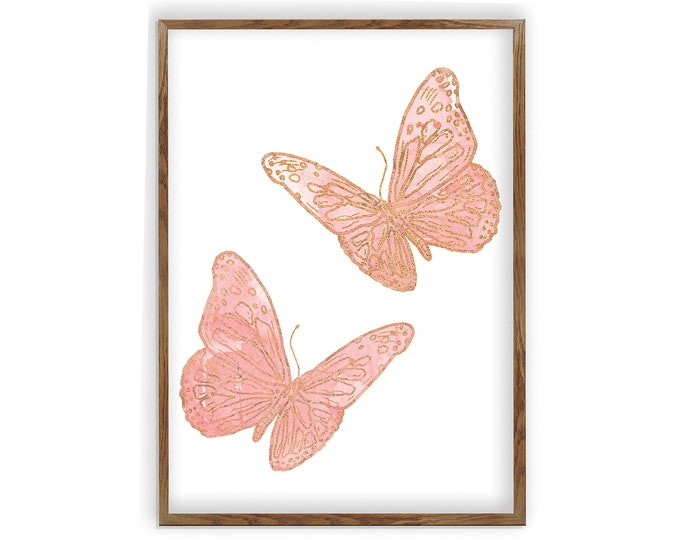 Blush Butterfly, Blush and Gold, Set Of 2, Butterfly Baby Print, Butterfly Art, Blush Butterfly, Butterfly Wall Decor, Butterfly Nursery Art