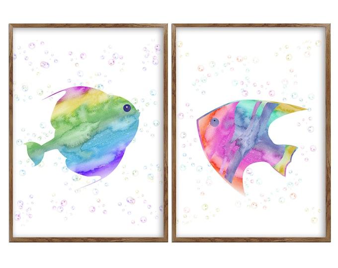 Fish Art Print, Fish Wall Decor Baby, Fish Nursery Wall Art, Rainbow Art Print, Watercolor Fish, Set of 2 Art Prints, Bathroom Wall Decor