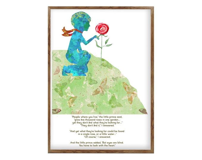 The Little Prince, Large Wall Art, Inspirational Quote, Home decor, Kids Room Art, Literature Art, Nursery Decor, Wall Art Canvas, Gift idea