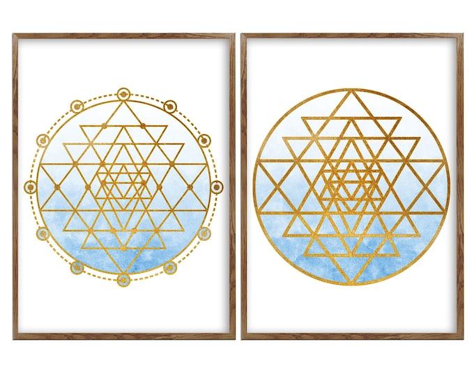 Sacred Geometry, Spiritual Wall Art, Yoga, Mandala Art, Wall Art Canvas, Set Of 2 Prints