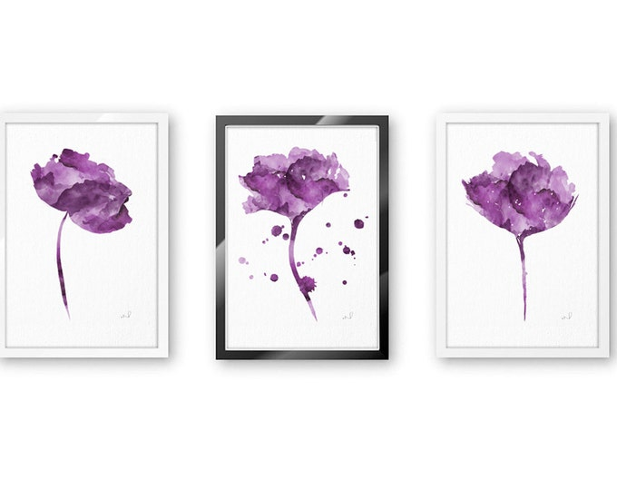 Purple Gallery Wall, Flower Set of 3 12 x 16, Purple Watercolor Flowers, Purple Girl's Room Decor, Purple Flower Painting, Purple Room Decor