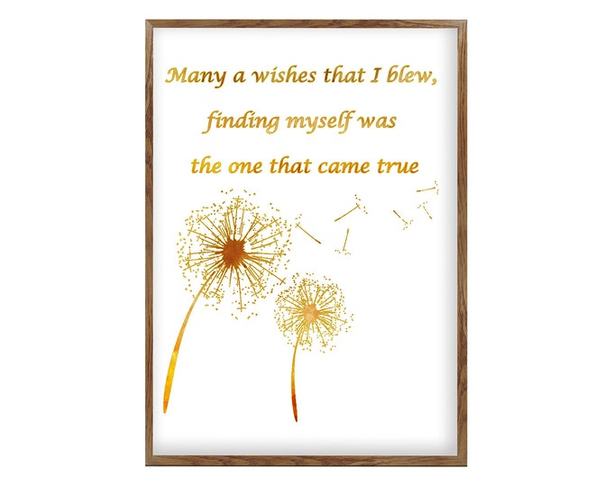 Quote Of Love, Dandelion Wall Art Canvas, Flower Wall Art, Dandelion Quote, Gifts for her, Dandelion Print, Quote Art, Creative Wall Art