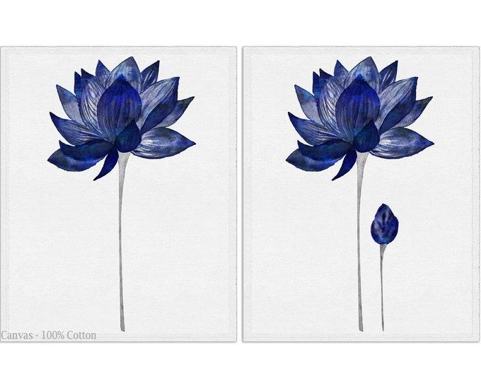 Lotus Flower Print, Set of 2 Pieces, Indigo Floral Prints, Floral Print, Navy Wall Décor, Canvas Wall Art, Watercolor Lotus