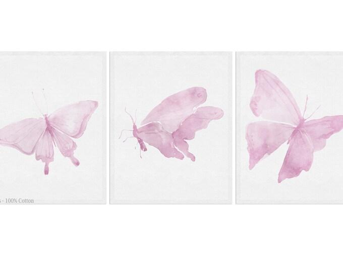 Butterfly Art Print, Set of 3 print, Wall Art, Girls Room Décor, Butterfly Nursery, Pink Butterfly Print
