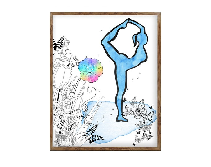 Pilates Illustration, Dancer Pose, Mindfulness Art, Yoga Art Print, Pose Poster, Teacher Gift, Studio Décor, Spiritual Art