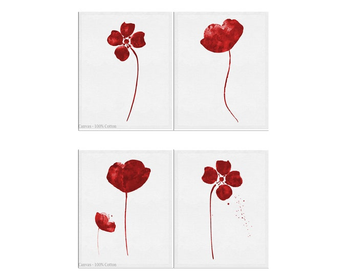 Red Flower Prints, Set of 4, Floral Posters, Navy Wall Decor, Wall Art Canvas, Abstract Flower Artwork, Large Flower Prints, Living Room Art