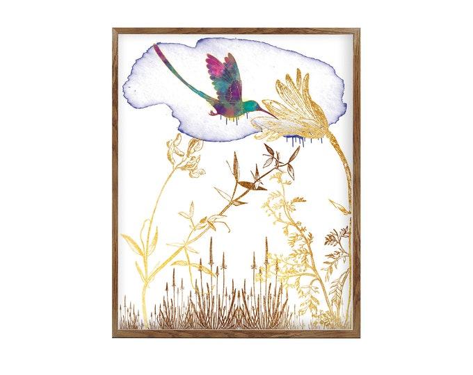 Hummingbird Art, Bird Art, Botanic Illustration, Colorful Art, Collage Painting, Wall Art, Wedding Gift