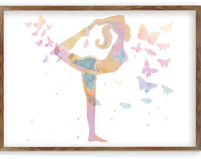 Yoga Studio Art, Yoga Watercolor Print, Yoga Pose, Meditation Décor, Yoga Wall Art, Spiritual Home Décor