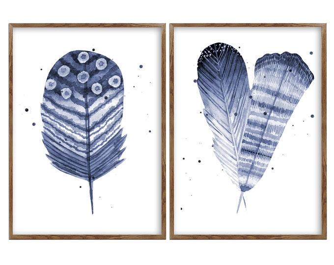 Feather, Wall Art Prints, Feather Print Set, Botanical Prints, Set of Prints, Wall Art Set, Feather Wall Art
