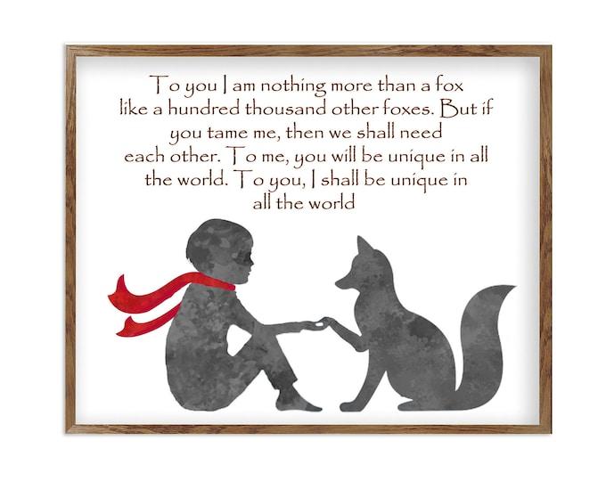 The Little Prince, Inspirational Quote Prints, Nursery Prints, Black and White Art, Le Petit Prince, House Décor Print